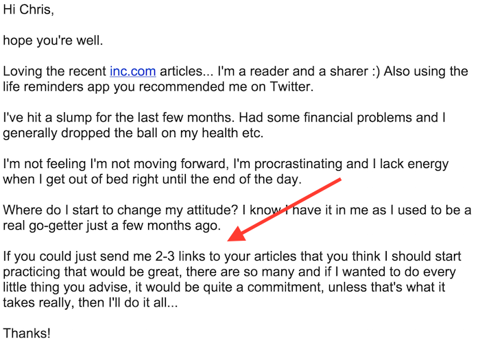 start here -- email from a reader