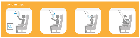 Plane safety procedures with stick figures and text